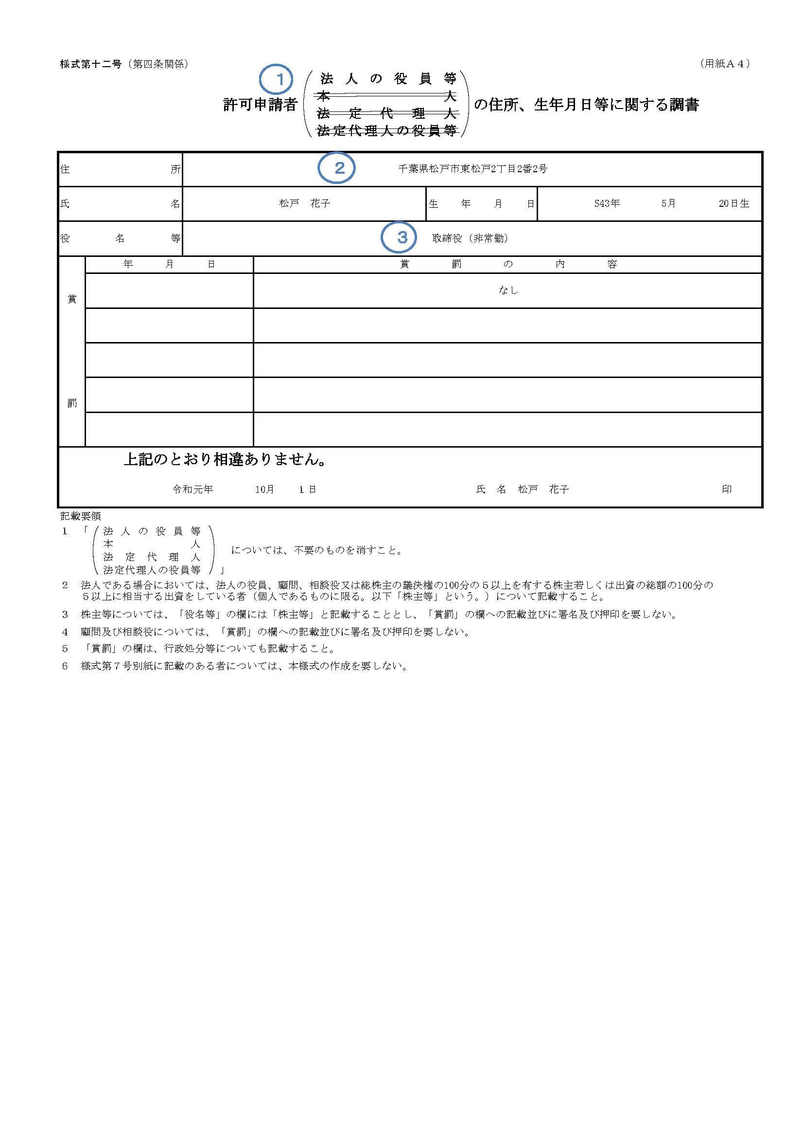 許可申請者の住所、生年月日等に関する調書